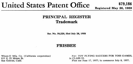 ultimate frisbee trademark